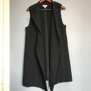 Calvin Klein long line open front vest black